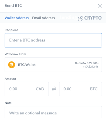 In this screen you have enter the wallet address where you want to send the Bitcoins