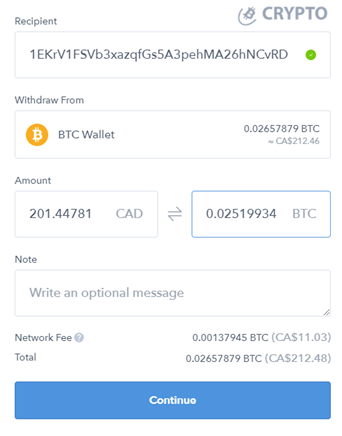 Enter wallet address and amount
