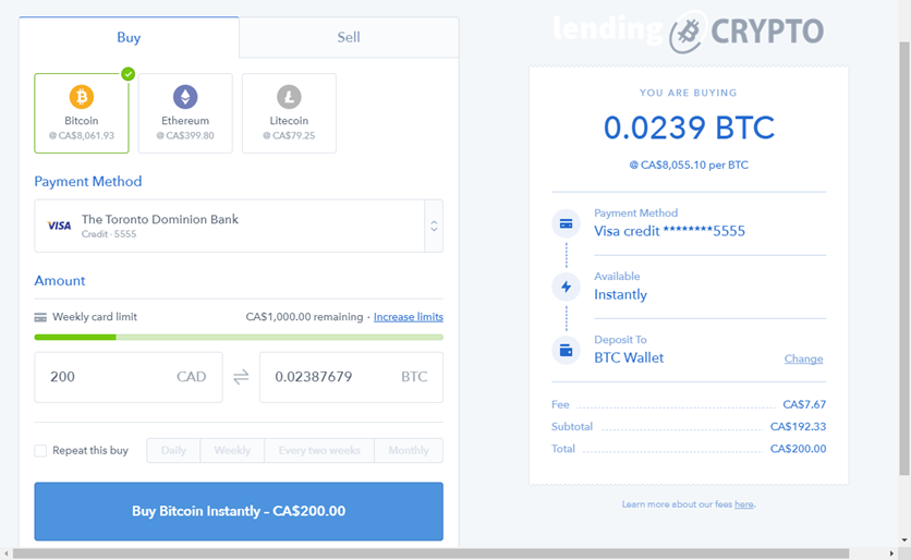 Purchase BTC using your credit card with Coinbase