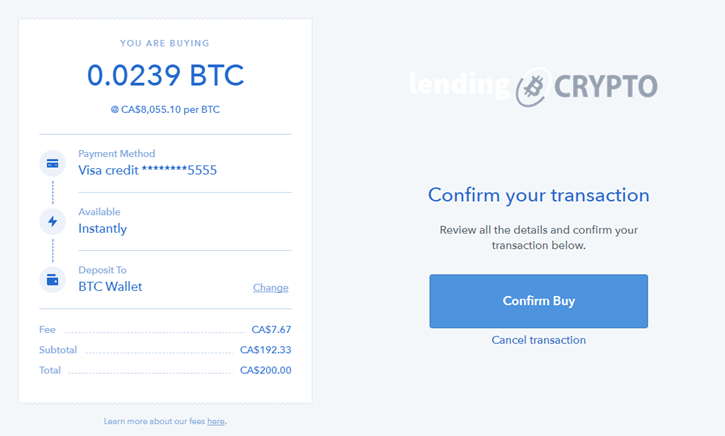Confirm the Purchase of BTC using your credit card with Coinbase